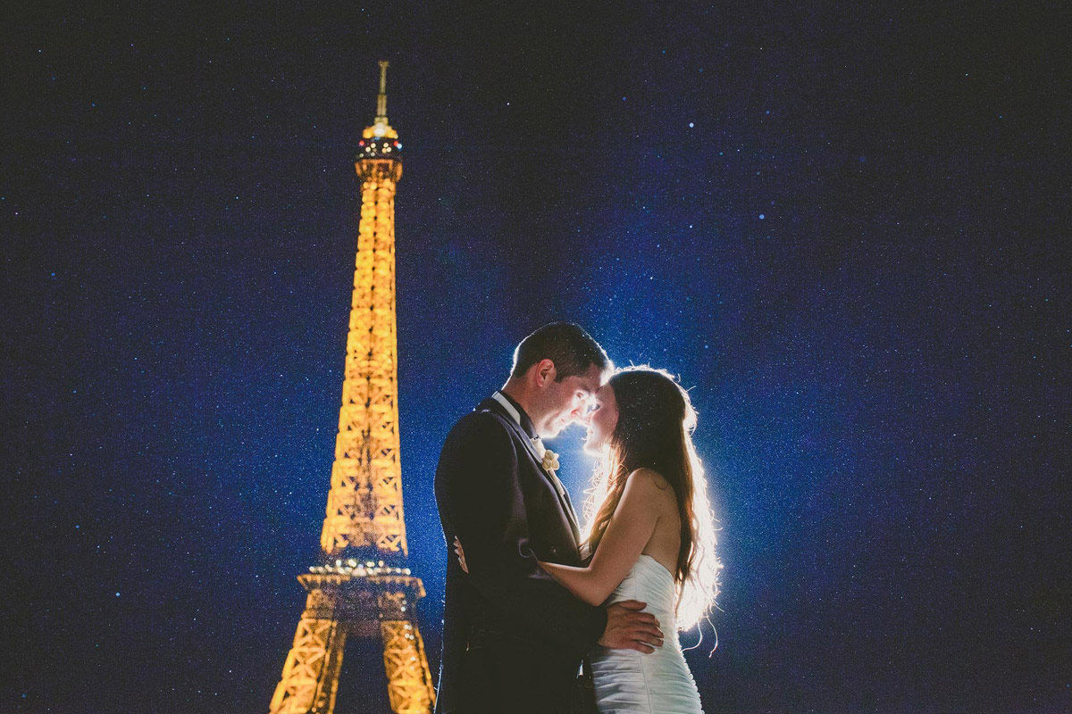 Paris night wedding photography